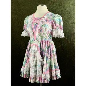 VTG🌈Lolita cottagecore floral dress with lace